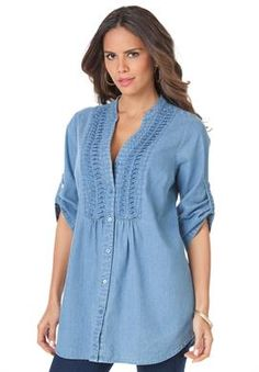 Plus Size Pintuck Bigshirt Plus Size Blouses, Plus Size Dresses, Plus Size Outfits, Big And Tall Outfits, Cool Outfits, Look Plus Size, Fashion To Figure, Big Girl Fashion, Blouse And Skirt