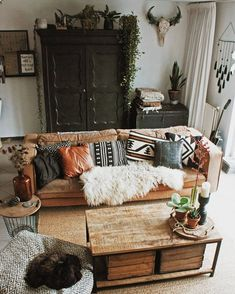 Modern Bohemian Living Room Inspiration Ideas ⋆ Home & Garden Design Boho Living Room, Cozy Living Rooms, Home And Living, Modern Living, Small Living, Western Living Rooms, Cute Living Room, Modern Room, Interior Design Living Room
