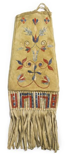Eastern Plains Quilled Hide Tobacco Bag, Probably Cree or Eastern Sioux | lot | Sotheby's