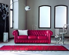 Romantic Red Sofa with Amazing Design White Leather Sofas, Modern Leather Sofa, Black Leather, Home Decor Styles, Cheap Home Decor, Chesterfield, Leather Living Room Furniture, Sofas For Small Spaces, Italian Sofa