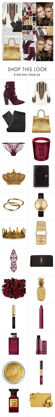 """""""Girl, if it's done right Well you know it's got to be, something wonderful to me Oh honey now girl, give it one night If you just give it a chance, loving you is not my plan Cause I know one day you'll see All the things that we can be"""" by labelsoflove ❤ liked on Polyvore featuring Laurence Dacade, Etro, Surface To Air, Dolce&Gabbana, Agent Provocateur, Diptyque, Chanel, Nixon, Shaun Leane and Dionea Orcini"""