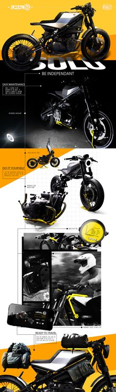 Solo+ is an independant motorcycle concept for the russian company Ural, it's made to be maintained and repaired directly by the user. Ducati, Yamaha, Elephant Design, Creative Industries, Cool Bikes, Bobber, Cars And Motorcycles, Hot Wheels, Cover Design