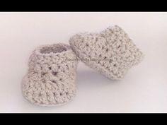 Patucos de ganchillo básicos, fáciles y rápidos. Easy crochet baby booties. Tutorial paso a paso. - YouTube