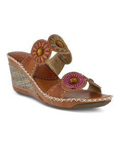 Take a look at this Camel Taffy Leather Wedge Sandal today!