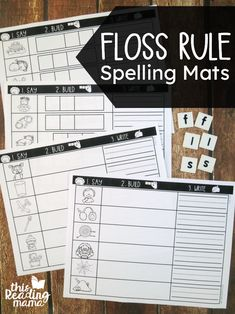 Floss Rule Spelling Mats - Say-Build-Write - This Reading Mama Phonics Rules, Spelling Rules, Spelling Lists, Teaching Phonics, Elementary Teaching, Word Study Activities, First Grade Activities, Spelling Activities, Listening Activities