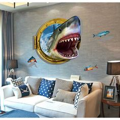 Removable Stylish 3D Shark Decorative Wall Stickers for Living Room / Bedroom…