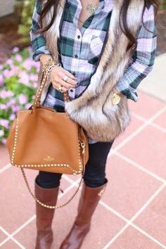 plaid + fur vest + boots + valentino handbag