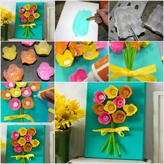 Flowers made from egg carton and buttons.