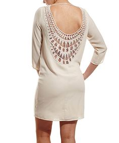 Another great find on #zulily! Cream Crochet-Back Shift Dress by Coveted Clothing #zulilyfinds