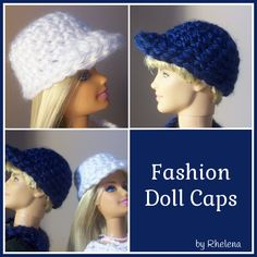 FREE crochet pattern for Fashion Doll Caps.