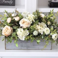 Farmhouse Decor~French Country/Cottage Decor~Roses, Hydrangeas, Peonies and Greenery in a Gray Washed Pail Beautiful Flower Arrangements, Floral Arrangements, Beautiful Flowers, Floral Centerpieces, Table Centerpieces, Wedding Centerpieces, Wedding Bouquets, Wedding Flowers, Wedding Decorations