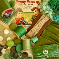 Old Things, Things To Come, Vintage Sewing Notions, Vintage Tile, Rick Rack, Wooden Spools, Thread Spools, Needle Book, Velvet Ribbon