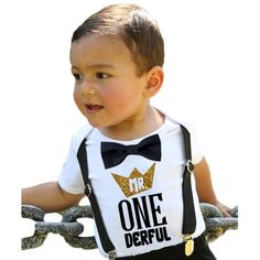 417b26901b0f Mr Onederful First Birthday Shirt Outfit Boy with Black Bow Tie Suspenders  and Gold and Black Saying Cake Smash 1st Birthday Party Noah's Boytique  18-24 ...