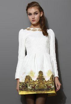 Scenic Print Jacquard Dress - Party - Dress - Retro, Indie and Unique Fashion