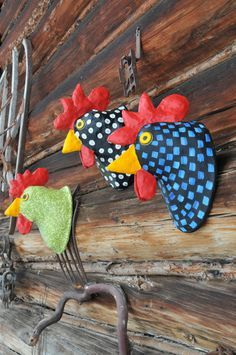Faux Taxidermy Rooster // Paper Mâché Animal Head // Taxidermied Animal…