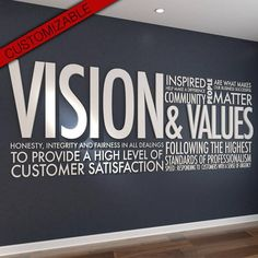 Vision & Values Letters Office Wall Art Wall Decal graphic, Vision & Values - Letters - Office Wall Art - Wall Decal - Wall Sticker - Hibryd Art - PVC - Typography - Motivational Decor - SKU:VAV Office Wall Design, Office Walls, Office Wall Art, Office Interior Design, Office Interiors, Office Designs, Interior Styling, Wall Sticker, Wall Decals