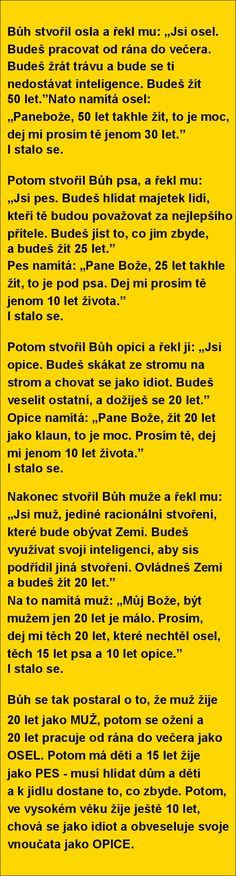 Bůh stvořil osla a řekl mu. Good Jokes, Funny Jokes, What Is April, Jokes Quotes, Memes, Pregnancy Jokes, Why Do People, Try Not To Laugh, Motto