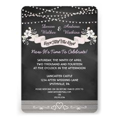 Shop Flowers & Lights Chalkboard Post Wedding Invite created by PetitePaperie. Chalkboard Wedding Invitations, Heart Wedding Invitations, Wedding Party Invites, Rehearsal Dinner Invitations, Brunch Wedding, Wedding Rehearsal, Wedding Invitation Design, Wedding Themes, Custom Invitations