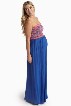 Royal-Fuchsia-Printed-Top-Strapless-Maternity-Maxi-Dress