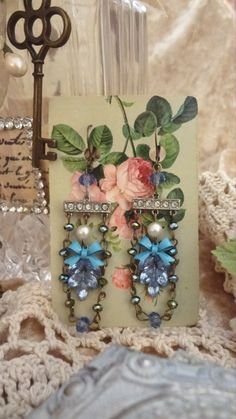 Just adore how these new earrings came out... so Marie Antoinette... new ear bobs from Bertha Louise Designs..... made by moi... Angela... hehehehe