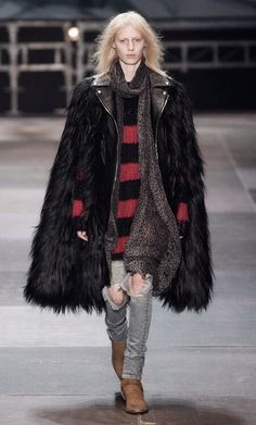 Slashed jeans, stripes and fur