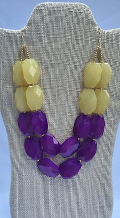 LSU Game Day Necklace - LSU necklace - Purple and Yellow Statement Necklace -Purple Yellow Necklace - GameDay Necklace - Purple Necklace by TrinketsByThandeka on Etsy