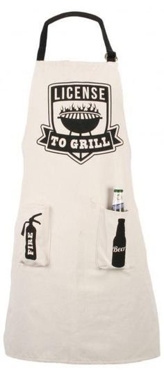 Cotton Barbeque Apron With Bag ~ Bbq Apron Licence To Grill