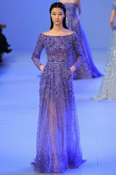 Elie Saab Couture S/S '14 Purple blue gown, beads, lace, sheer, wedding, evening, boat neck, long-sleeve