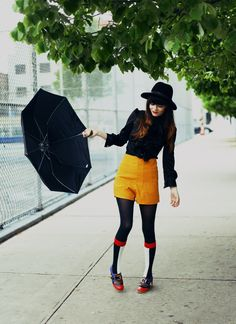 Rachel Marie styles a color block look for a dreary, rainy day in NYC featuring Chaussure Lapin shoes from MissKL and Da Sein socks. Primary colors galore!