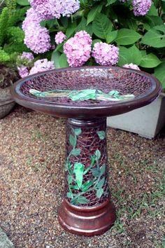 frog mosaic birdbath