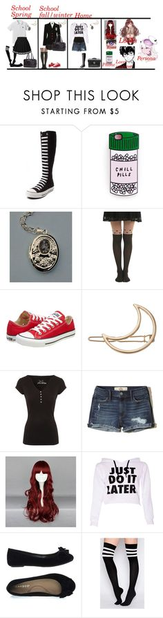"""""""Persona 5 Oc"""" by bec1995 ❤ liked on Polyvore featuring Converse, Usagi, Miss Selfridge, Cullen, Hot Topic, LC Lauren Conrad, Jane Norman and Hollister Co."""