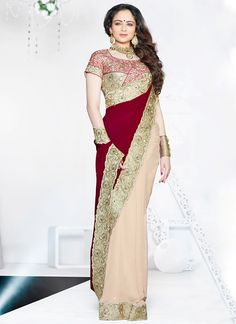 exclusively-cream-maroon-faux-georgette-saree-