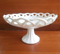 BIG Milk Glass Lace Edge Pedestal Compote Imperial