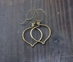 Lotus Leaf Earrings Small NuGold Red Brass 14k Gold Fill by true2u, $16.00
