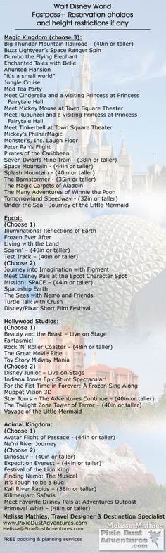 Wlat Disney World Fastpass selections.  Updated 3/23/17  Melissa Mathies, Travel Agent - Pixie Dust Adventures  www.PixieDustAdventures.com