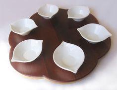 Seder plate, recycled oak wine barrel head