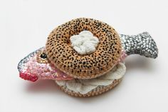 "Crocheted bagel & ""lox"""