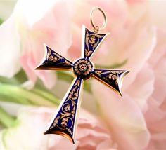 Gold & enamel cross pendant  Mid 19th century,England 19th Century England, Cross Pendant, Prayers, Enamel, Symbols, Gold, Art, Isomalt, Craft Art