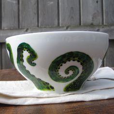 Items similar to soup and kraken china bowl - hand painted china - tentacles painted china bowl - china soup salad cereal bowl - octopus bowl on Etsy Pebeo Porcelaine 150, China Bowl, White China, Kraken, Pottery Painting, Tentacle, Cereal Bowls, Soup And Salad, Octopus