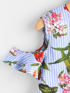 Open Shoulder Frill Hem Botanical Print Blouse -SheIn(Sheinside)
