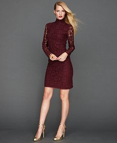 INC International Concepts Petite Dress, Long-Sleeve Lace Turtleneck - Petite Dresses - Women - Macy's