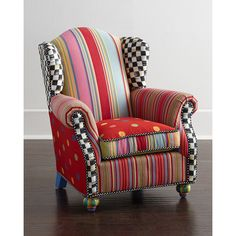 MacKenzie-Childs Wee Wing Chair ($875) ❤ liked on Polyvore featuring home, furniture, chairs, accent chairs, multi colors, colorful furniture, mackenzie childs furniture, mackenzie-childs, mackenzie childs chair and colorful chairs