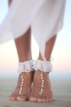 Dance of the pearls with white frilly lace barefoot by FULYAK