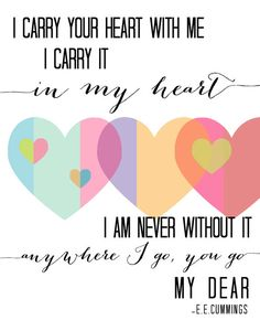 I Carry Your Heart quote EE Cummings inspirational love hearts pastel for spring 8x10 wall art print. $19.00, via Etsy.