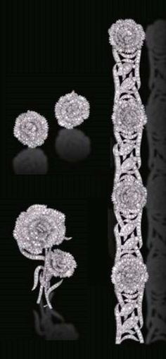 RAYMOND YARD - A FINE ART DECO DIAMOND PARURE, CIRCA 1930. Comprising a flexible bracelet, en tremblant brooch and pair of ear clips en suite, mounted in platinum. Each signed Yard, for Raymond C. Yard.