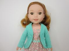 14.5 inch doll clothes - Pretty aqua green slouch cardigan by JazzyDollDuds.