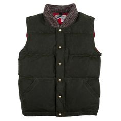 Waxed Down Vest - Olive