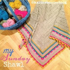Sunday Shawl - crochet pattern from The Little Bee (photo credit @karinsbunterblog) https://www.etsy.com/nz/listing/196313873/crochet-shawl-pattern-instant-download