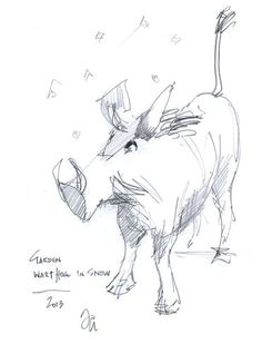 Musical Warthog. Doodle by Sir Thomas Allen, promiscuous doodler.