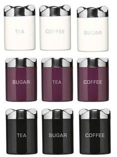 Houstons Enamel Tea Coffee Sugar Canisters Set Jars New